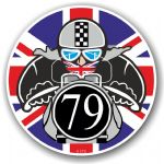 Year Dated 1979 Cafe Racer Roundel Design & Union Jack Flag Vinyl Car sticker decal 90x90mm